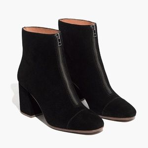 Madewell new black suede short zip boots size 5